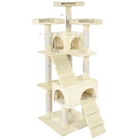 TecTake Rascador Árbol para gatos 170cm Sisal - disponible en diferentes colores - (Crema |