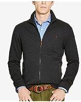 Polo Ralph Lauren Jacquard Fleece Zip-Up Sweater CHARCOAL HEATHER Medium