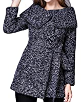 Gnao Women Stylish Lapel Open Front Belted Slim Long Trench Coat