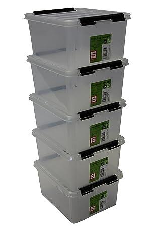 7bdbde21a0caa3 Orthex 35210705 5er Set Clipbox Smart Store Classic 2 Aufbewahrungsbox  Plastik 21 x 17 x 11