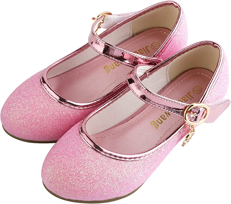 Toddler//Little Kid//Big Kid MODEOK Baby Girls Glitter Mary Jane Flat Princess Dress Shoes