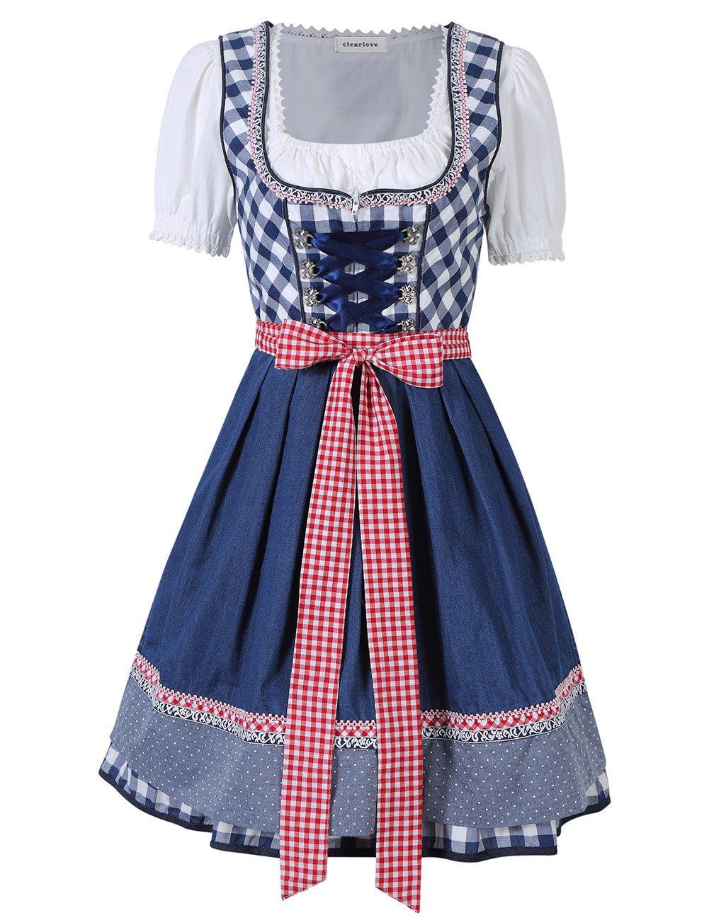 Leoie Clearlove Women's Oktoberfest Holiday Costumes Dresses Plaid Short Sleeve Triple Splicing Dress Suit Blue Plaid 40