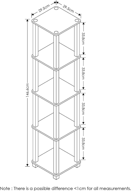 One Size Furinno Turn Scaffale Angolare 5 Livelli con Tubo Quadrato Americano//Nero