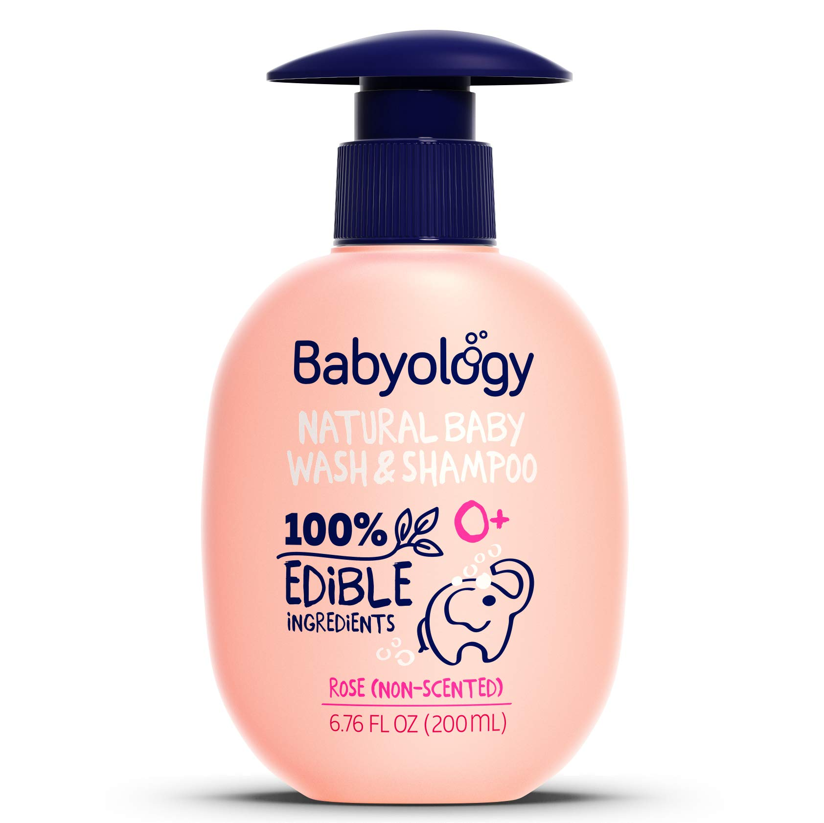 Babyology - 100% Edible Ingredients - Baby Wash & Shampoo - Non-scented (Organic Rose Water) - Clinically Tested - Tear-Free - 6,67 FL. OZ - Perfect Baby Shower Gift by Babyology