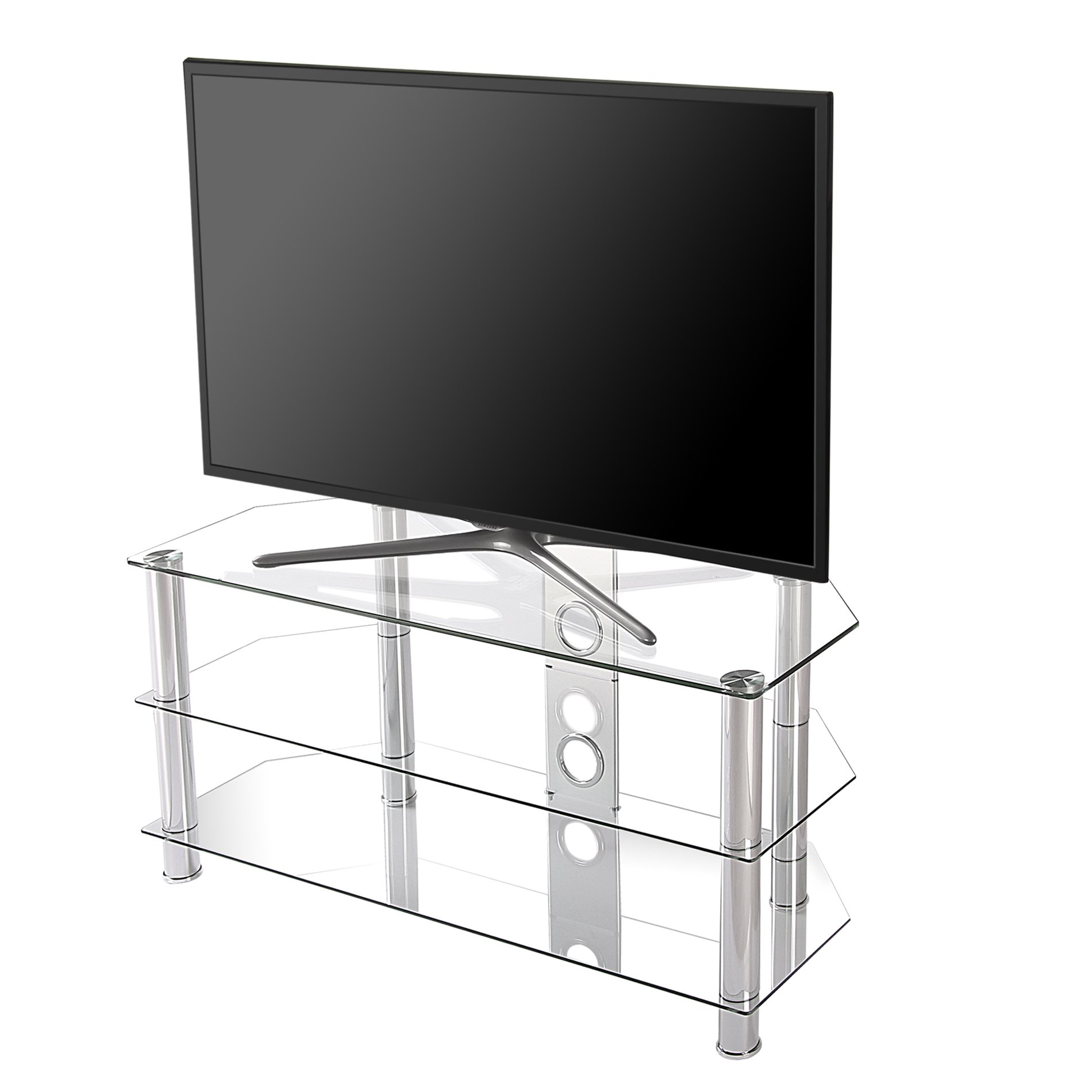 FITUEYES Classic Clear Tempered Glass TV stand suit for up to 46-inch LCD LED OLED TVS,FTS310501GT