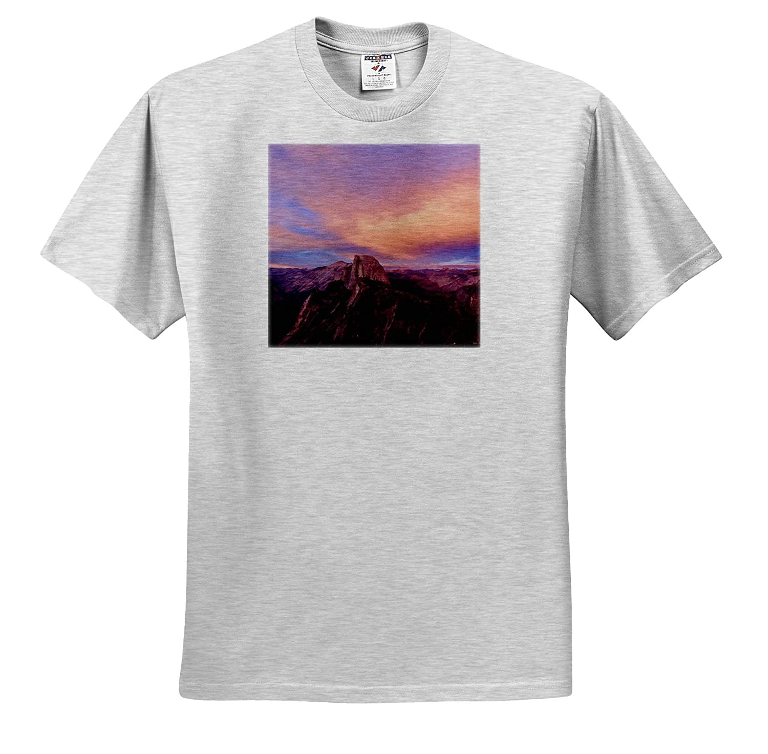 3dRose Tory Anne Collections Photography Yosemite Glacier Point Sunset View Half Dome Cotton Candy Sky T-Shirts