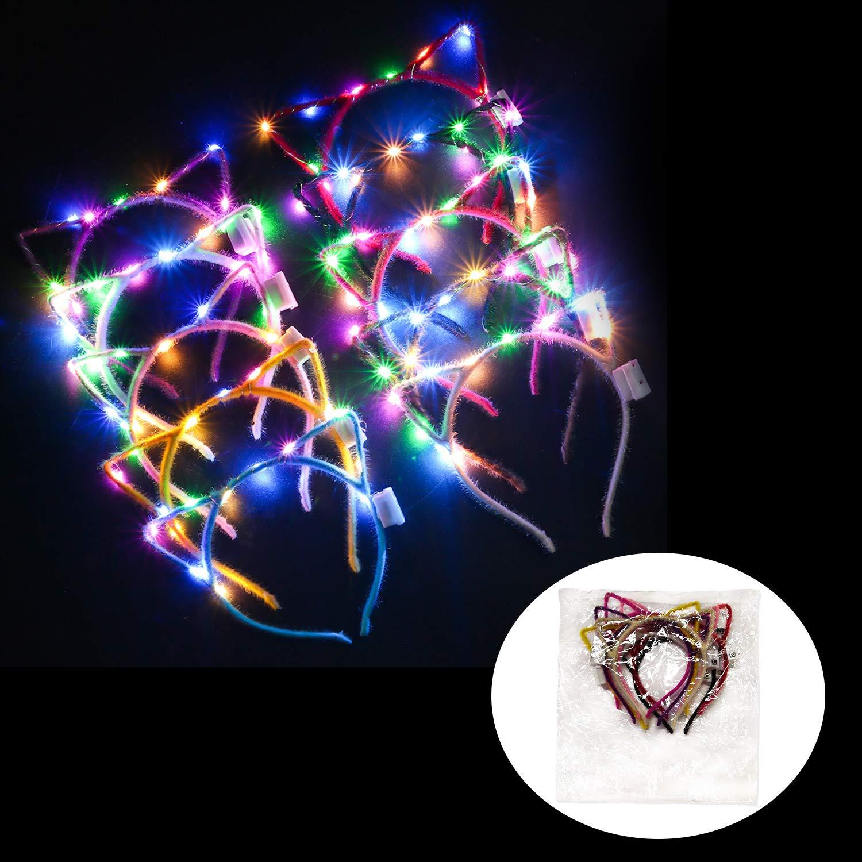 Kapmore LED Cat Ear Headband, 10 Pack Cute Light Up Cat Ear Headdress Hairbands Halloween Christmas Party Decorations Hair Accessories for Girls Adult