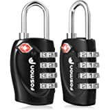 Fosmon (2個セット) アメリカ安全運輸局認定 TSAロック 4桁 ダイヤル式ロック 南京錠 鍵 海外旅行 荷物スーツケース用 4ダイヤルロック (ブラック)