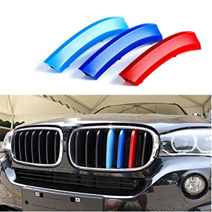 Car Front Grille Strip Insert Trim Cover for BMW X4 F26 14-17 3D M-Colored  Stripes