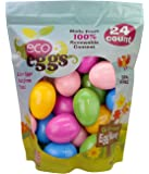 Eco Friendly 100% Renewable USA Plant Based Non-Toxic Snap Closure Plastic Fillable Easter Eggs for Egg Hunts & Easter Baskets – Multicolor, 24 Count