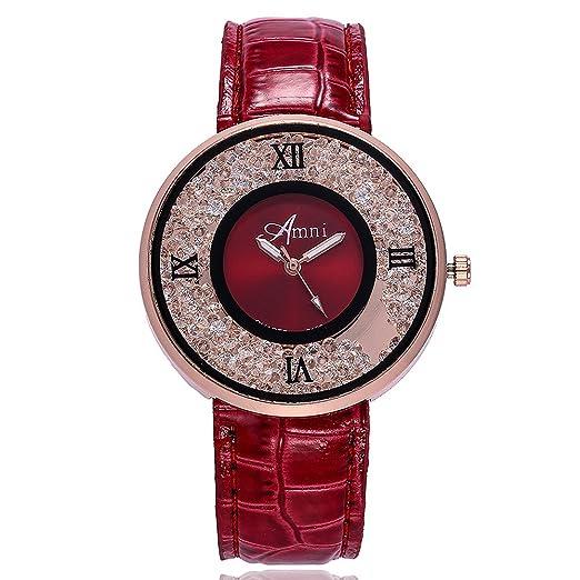 Kinlene Mujer Casual Relojes,Moda cuero banda de cuarzo analogico redondo reloj relojes (C): Amazon.es: Relojes