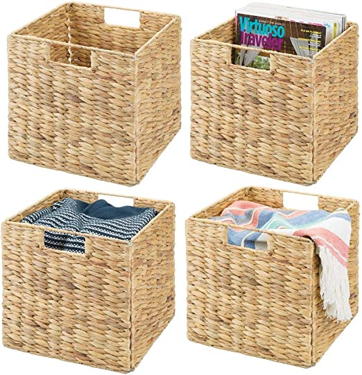 """10.5/"""" Woven Storage Cube Basket Bin with Iron Wire Frame Set of 2"""