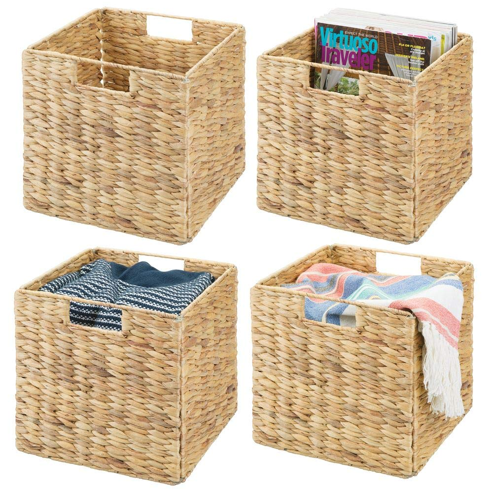 "mDesign Natural Woven Hyacinth Closet Storage Organizer Basket Bin - Collapsible - for Cube Furniture Shelving in Closet, Bedroom, Bathroom, Entryway, Office - 10.5"" High, 4 Pack - Natural/Tan"