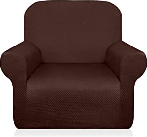 Granbest Thick Armchair Slipcovers for Living Room Stylish Pattern Chair Covers Stretch Jacquard Sofa Slipcover for Dog Pet Anti-Slip Furniture Protector Washable (Small, Chocolate)