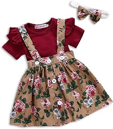 3PCS Dress /& Headband Baby Girl Romper Big Sister Little Girls Floral Flowers