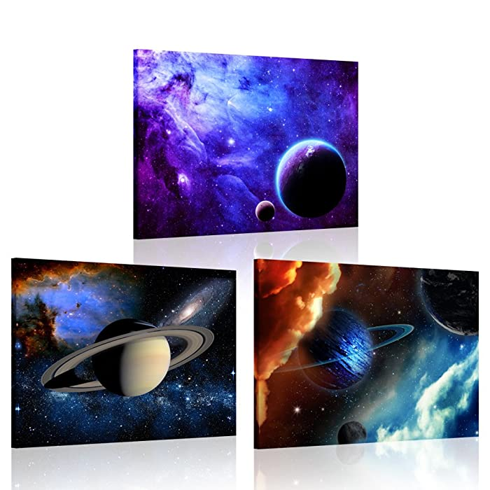 iKNOW FOTO 3 Piece Canvas Prints Galaxy Stars Abstract Space Wall Art Elements of This Image Furnished by NASA Modern Home Decor Stretched and Framed Ready to Hang for Kids Room Decor 12x16inchx3pcs