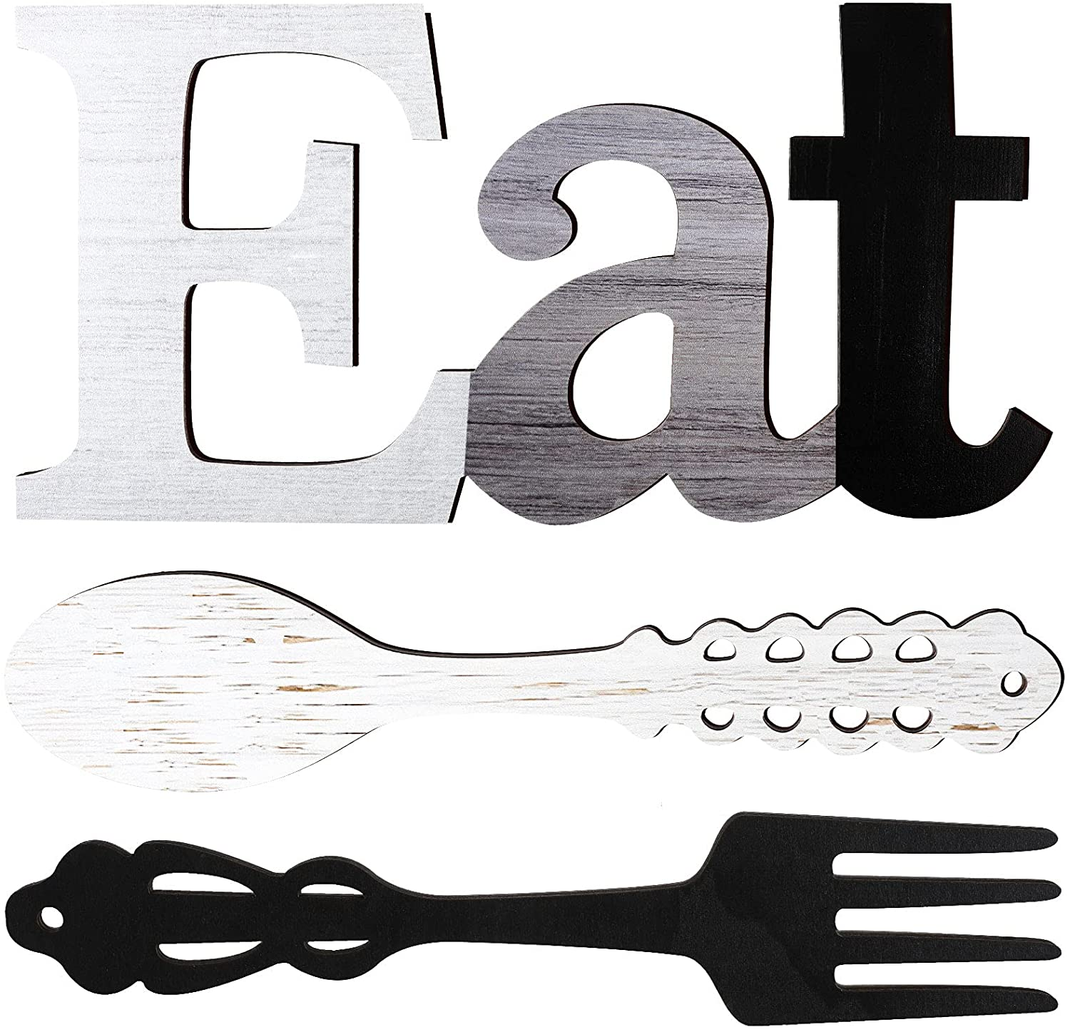 Set of EAT Sign, Fork and Spoon Wall Decor, Rustic Wood Eat Decoration, Cute Eat Letters for Kitchen and Home, Decorative Hanging Wooden Letters, Country Wall Art for Dining Room (Stylish Colors)