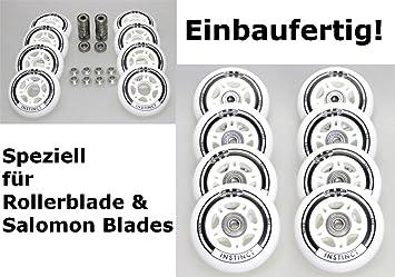 Lager ABEC7 Alu-Spacer 8mm Hyper 4//8er Set Rollerblade Salomon Inliner Rolle fertig montierte Instinct Rolle 80mm//82a