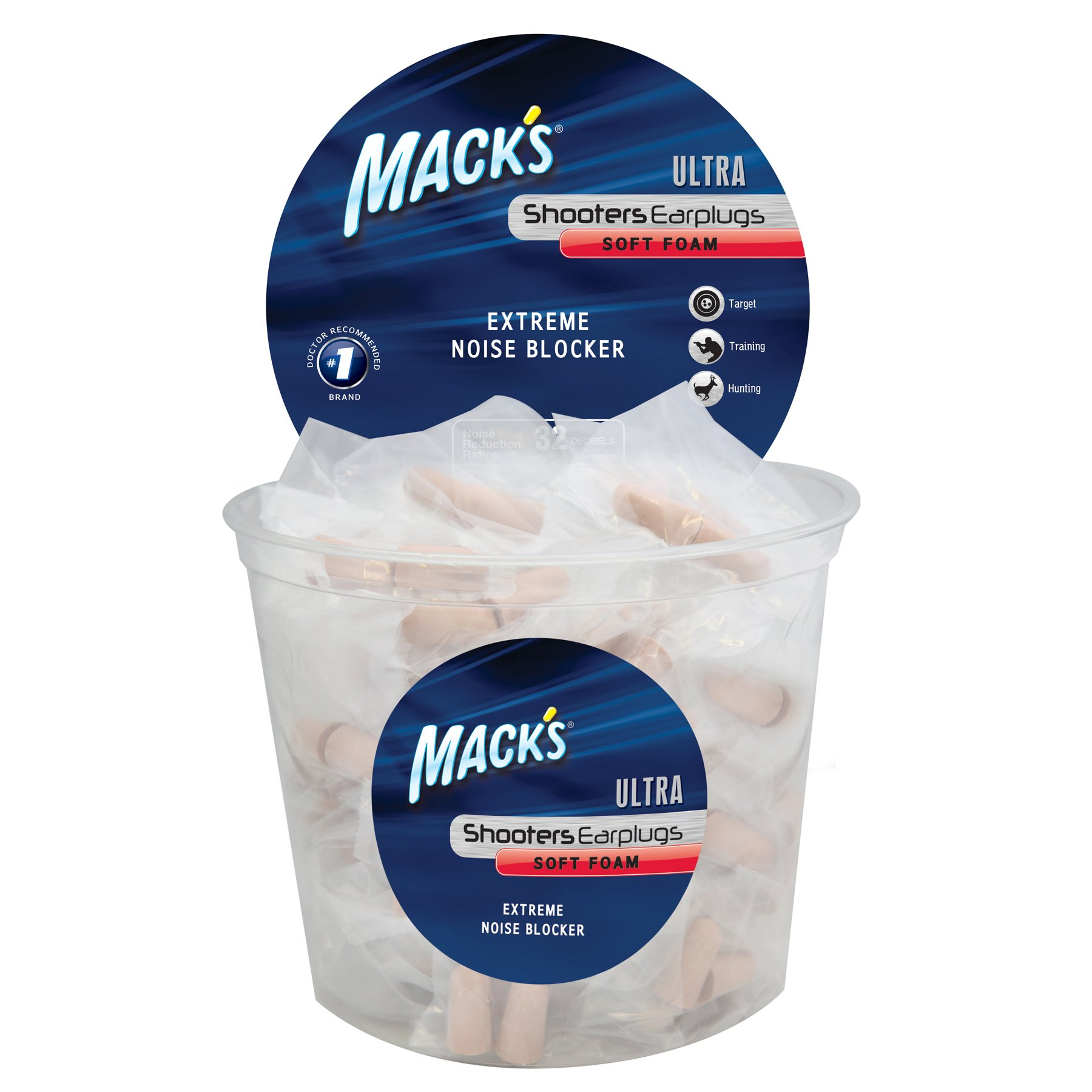 Mack's Shooters Ultra Foam (100-Pair) Tub Earplugs