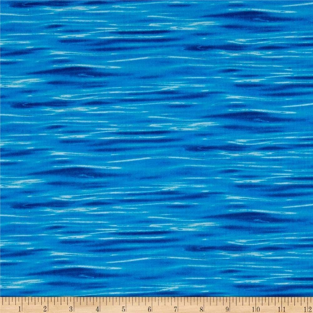 Elizabeth's Studio Quilt Fabric Landscape Medley Water Deep Blue Quilt Fabric by The yd