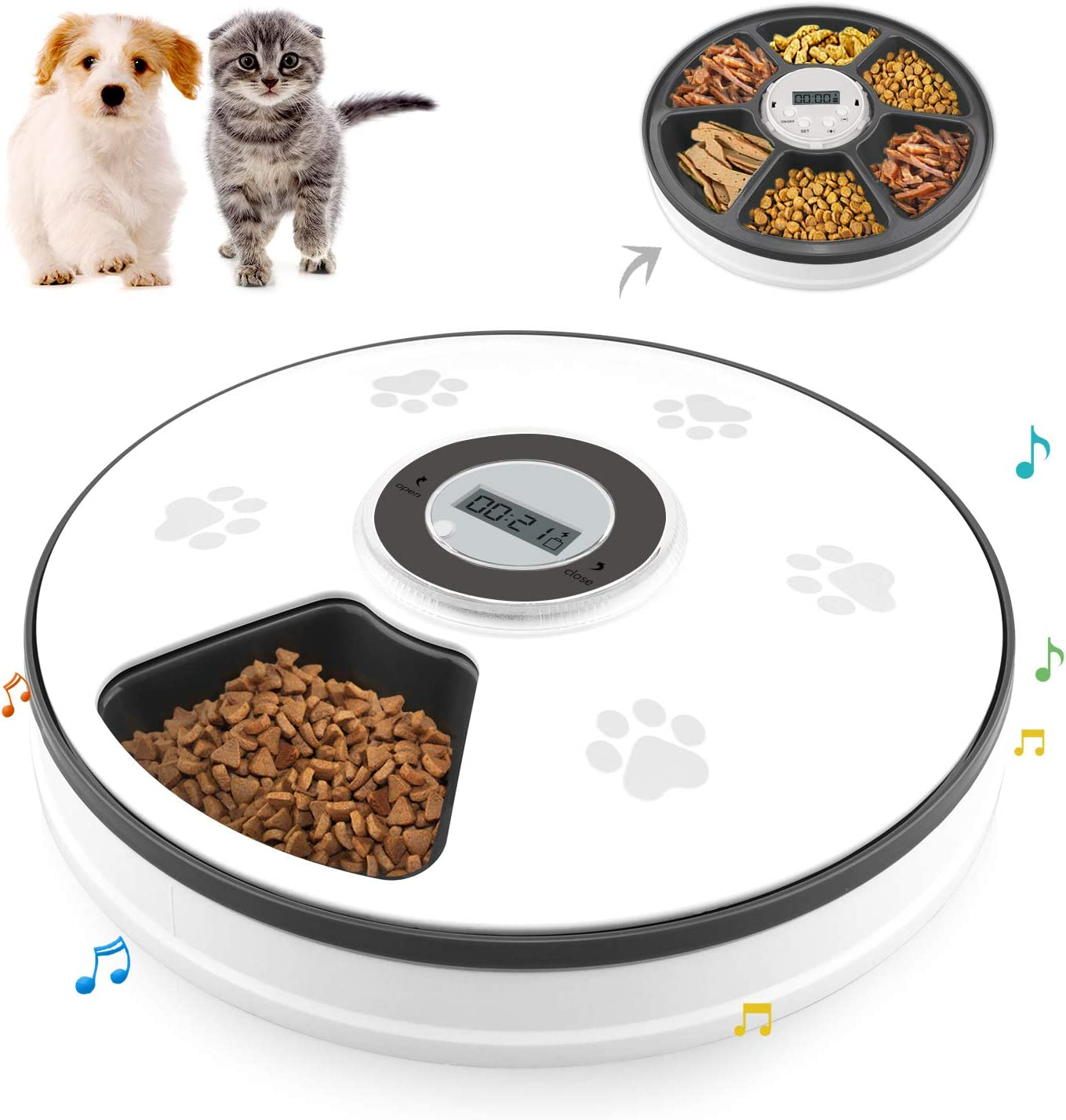 Chintu Automatic Cat Feeder with Timer - 6 Meals Dog Food Dispenser for Cats and Small Dog with Voice Reminder Portion Control Programmable Timed Auto Pet Feeder