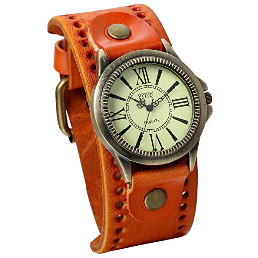 JewelryWe Vintage Leather Strap Wide Band Wristwatch Cuff Quartz Watch for Men - Yellow