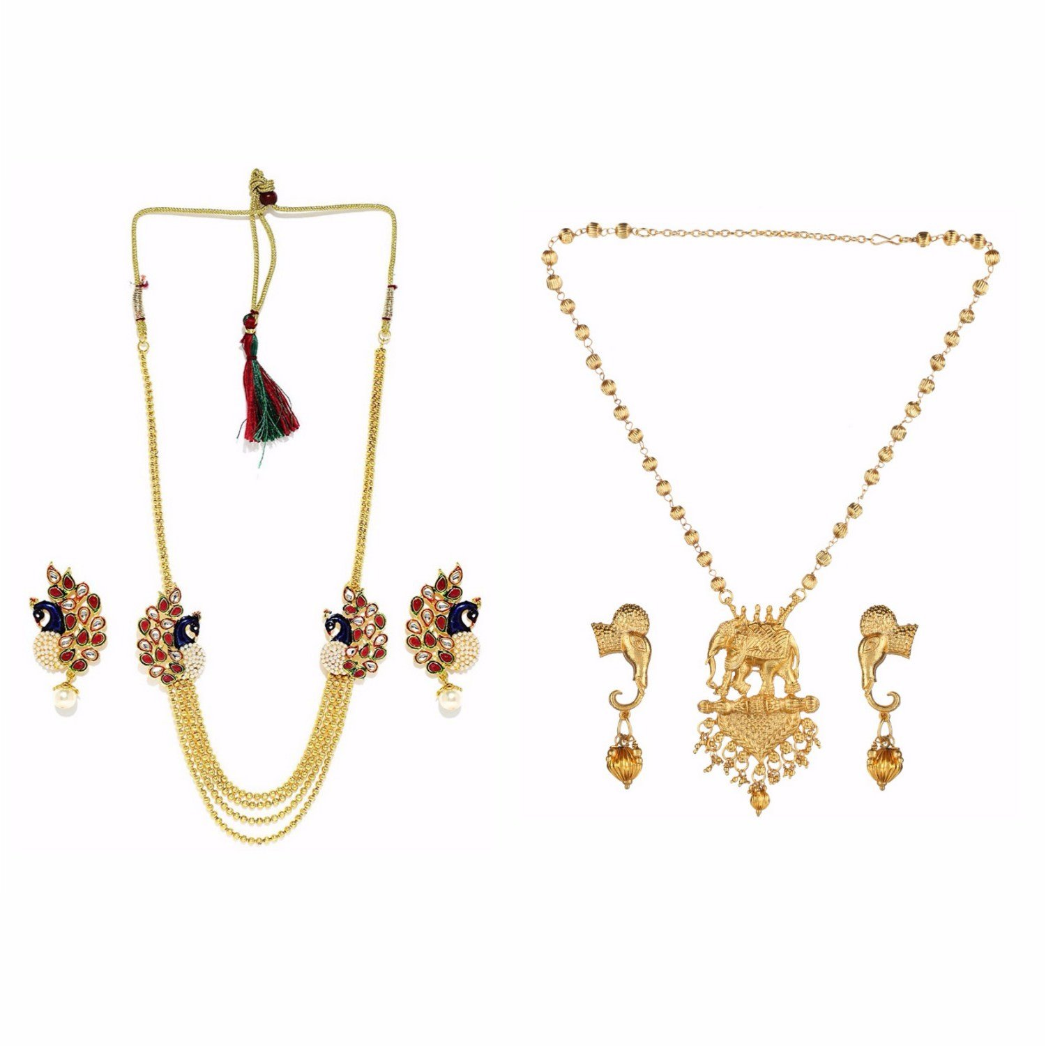 Efulgenz Indian Bollywood Traditional White Red Green Rhinestone Faux Ruby Emerald Bridal Designer Kundan Multistranded Lariat Style Necklace & Earrings Jewelry Set in Antique 18K Gold Tone for Women Archi Collection MNT184MNT186