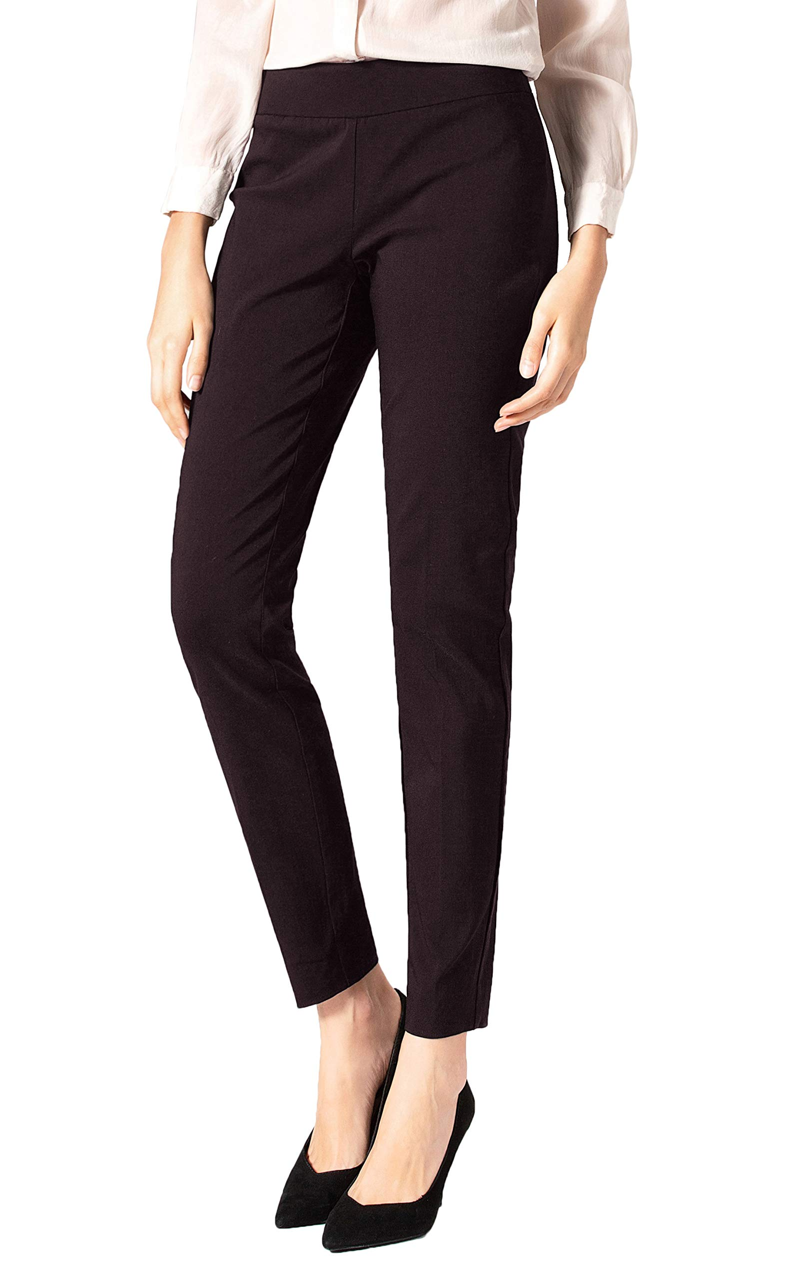 SATINATO Women's Straight Pants Stretch Slim Skinny Solid Trousers Casual Business Office (2, Zipper Free-Brown) by SATINATO