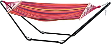 Imagen deAMAZONAS Beach Set-Hamaca, Multicolor, 100 kg, Fuchsia Rojo Púrpura Amarillo, 304x91.5x78.5 cm