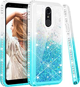 Maxdara for LG Q7 Case, LG Q7 Plus Glitter Case Girls Women Liquid Gradient Quicksand Bling Sparkle Luxury Fashion with Diamond Rhinestone Case for LG Q7 LG Q7 Plus Case (Teal)