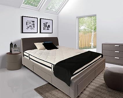 Cama de matrimonio con recubrimiento de tejido gris + colchón - cama ...