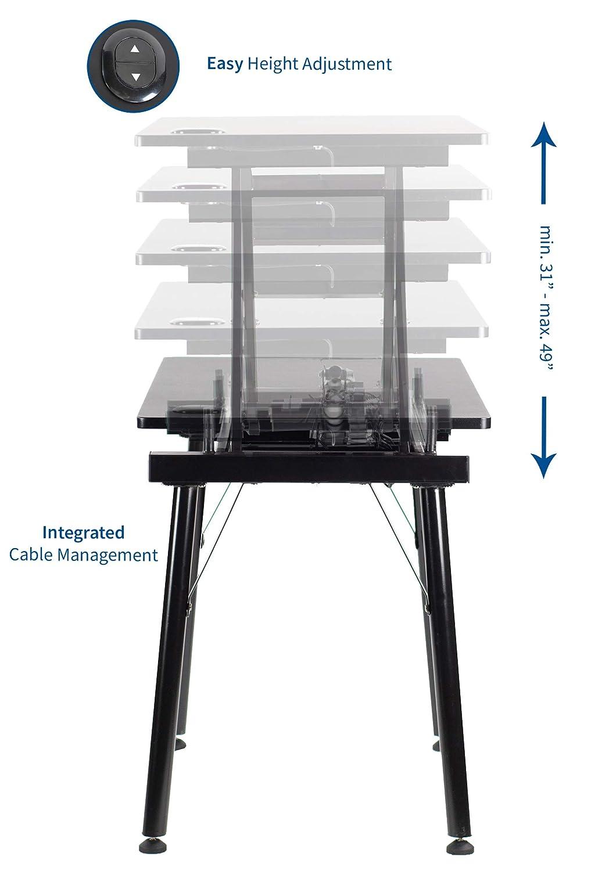 VIVO Black Manual Height Adjustable Table Sit-Stand Desk with 55 x 24 Tabletop DESK-V100M Standing Desk Frame and Desktop Workstation