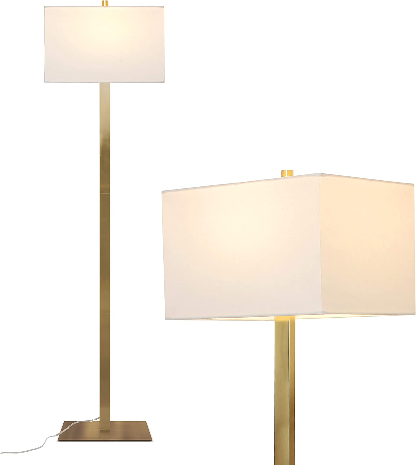 Brightech Stella - Bright Brass Lamp for Office, Bedrooms, and Living Rooms - Standing Mid Century Modern Light- Gold, Antique Brass - Indoor Pole Lamp