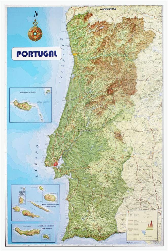 Mapa de Portugal con relieve: Amazon.es: Oficina y papelería
