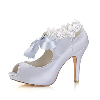 77c9d632bb9a Emily Bridal Silver Wedding Shoes Silk Peep Toe Lace Up Wedding Guest Shoes  High Heel Bridal