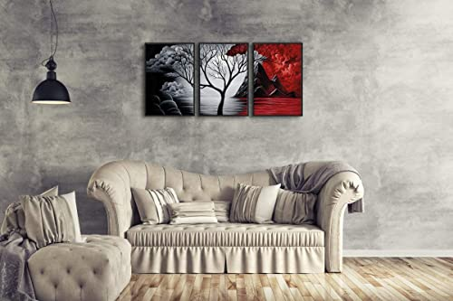 Wieco Art Large Size Framed Art Canvas Art Prints Wall Art the Cloud Tree Abstract Pictures Painting