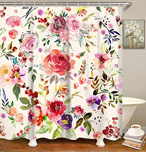 Red Flowers Fabric Bathroom Curtains Set with Hooks Blossom Bathroom Decor 72x72 Inches Machine Washable LIVILAN Floral Shower Curtain