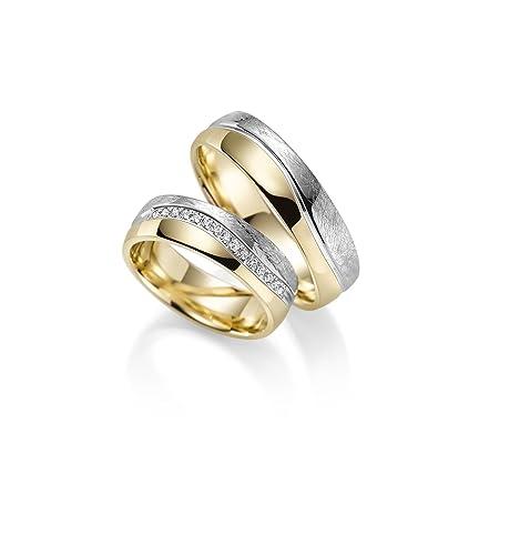 8a0cb467e920 Par de alianzas Rubin Juwelier en oro 333 amarillo y oro blanco. Incluye  grabado y 15 circonitas  Amazon.es  Joyería