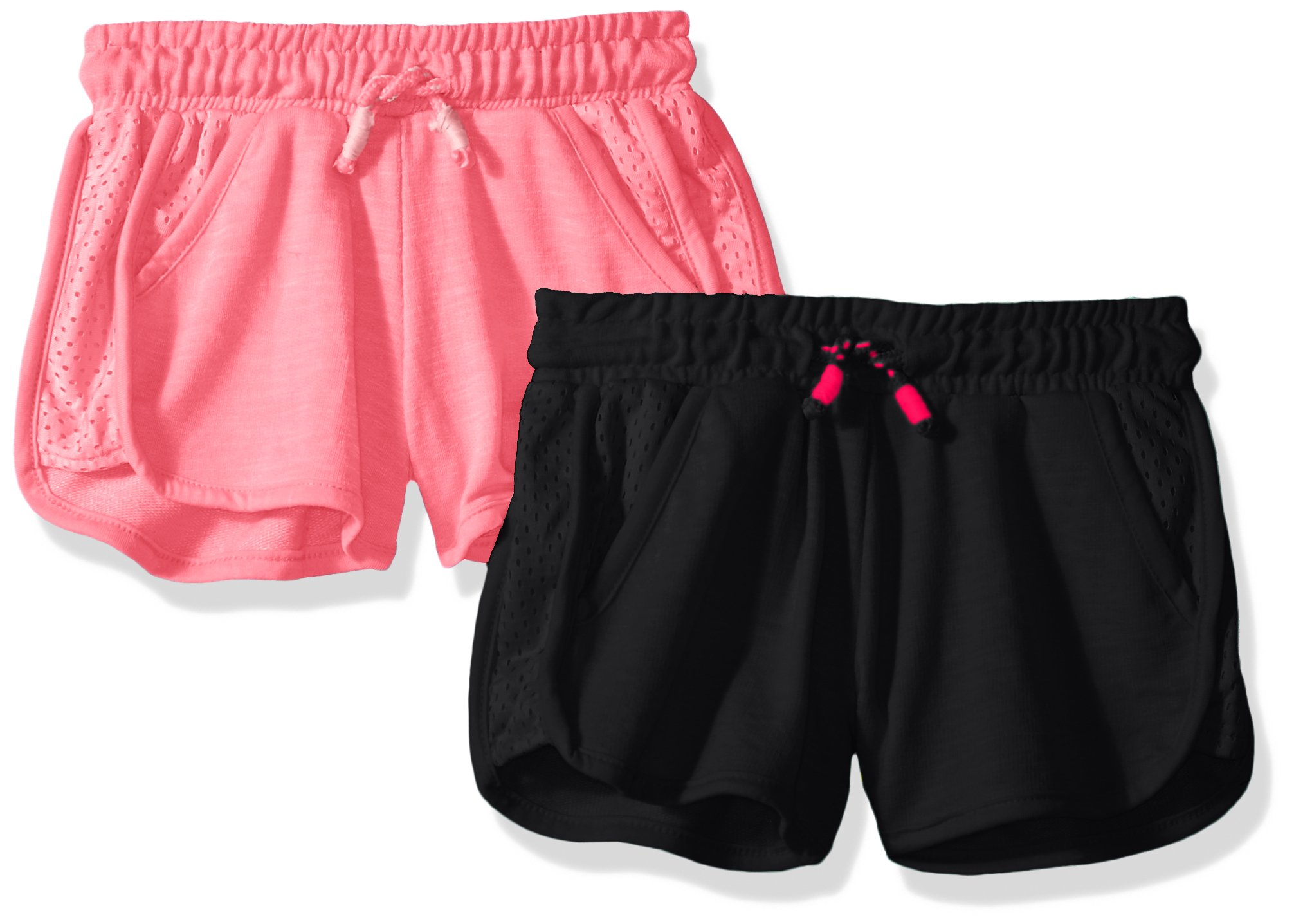Limited Too Big Girls' 2 Pack Short, Mesh Trim Light Grey with Neon Light Pink/Multi, 7/8