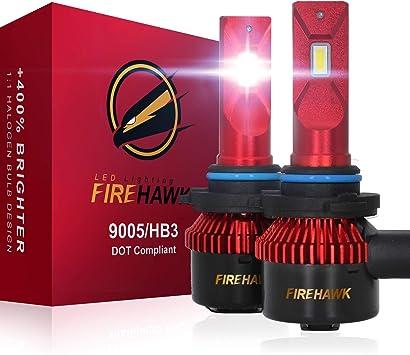 Firehawk 2021 New 9005/HB3/H10 LED Headlight bulbs, 15000LM Japanese CSP, 400% Brightness, 200% Night Visibility, 6000K Cool White, Pack of 2