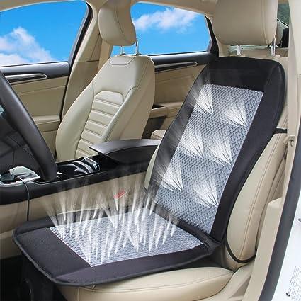 Amazon.es: Aire de refrigeración coche cojín funda de asiento 12 V ...