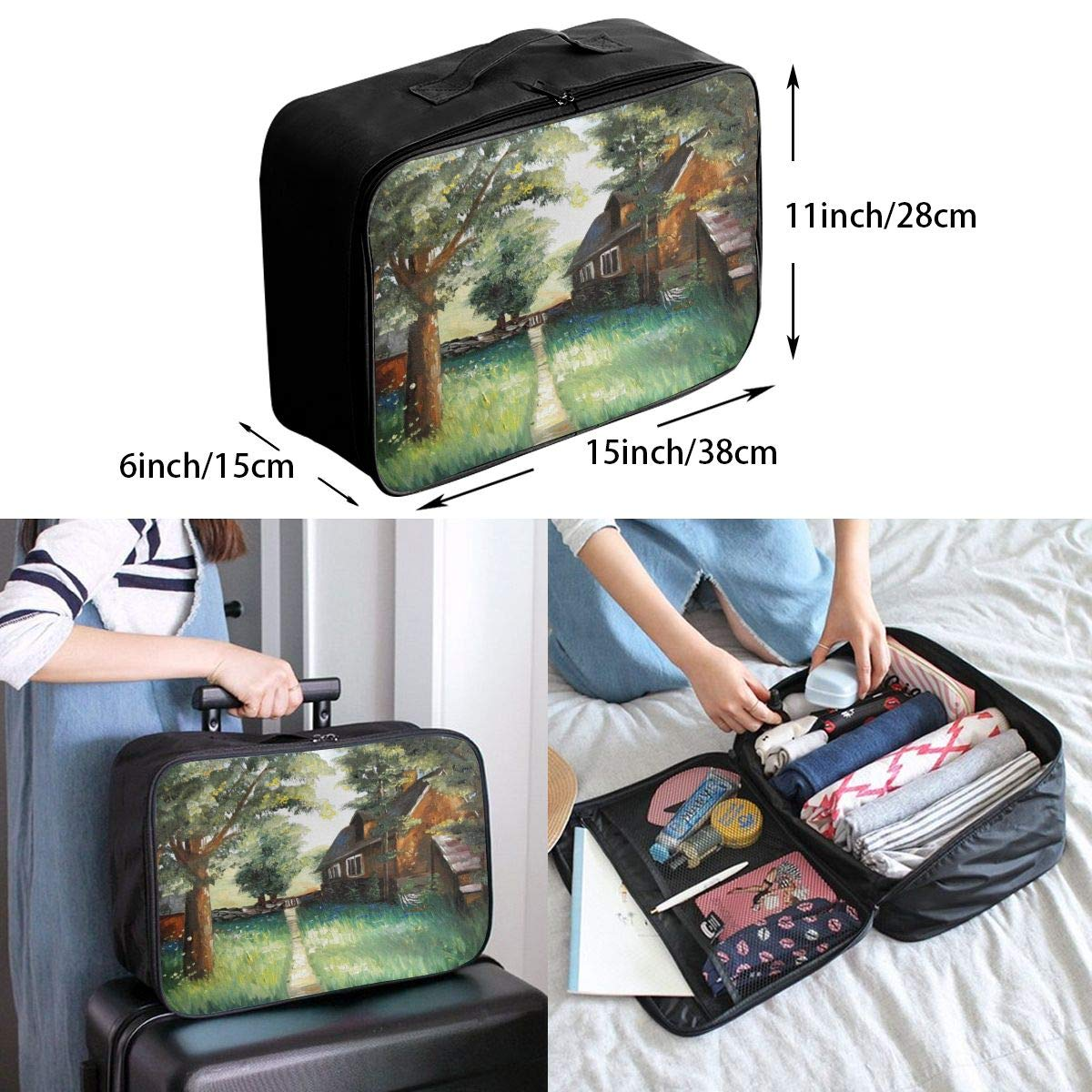 Travel Luggage Duffle Bag Lightweight Portable Handbag Forest House Painting Large Capacity Waterproof Foldable Storage Tote