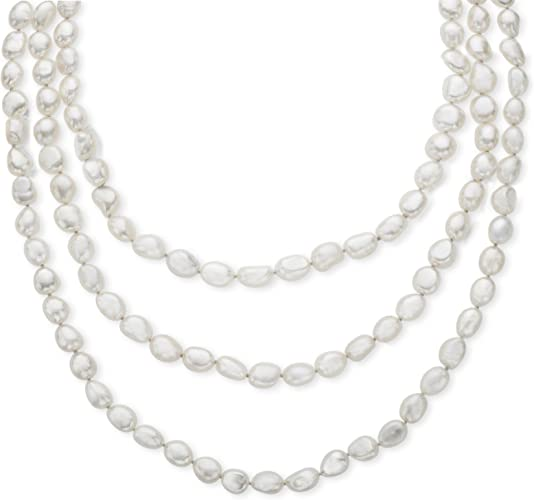 Handpicked A Quality 8-9mm Grey or Black Freshwater Cultured Pearl Strand Endless 60 Necklace