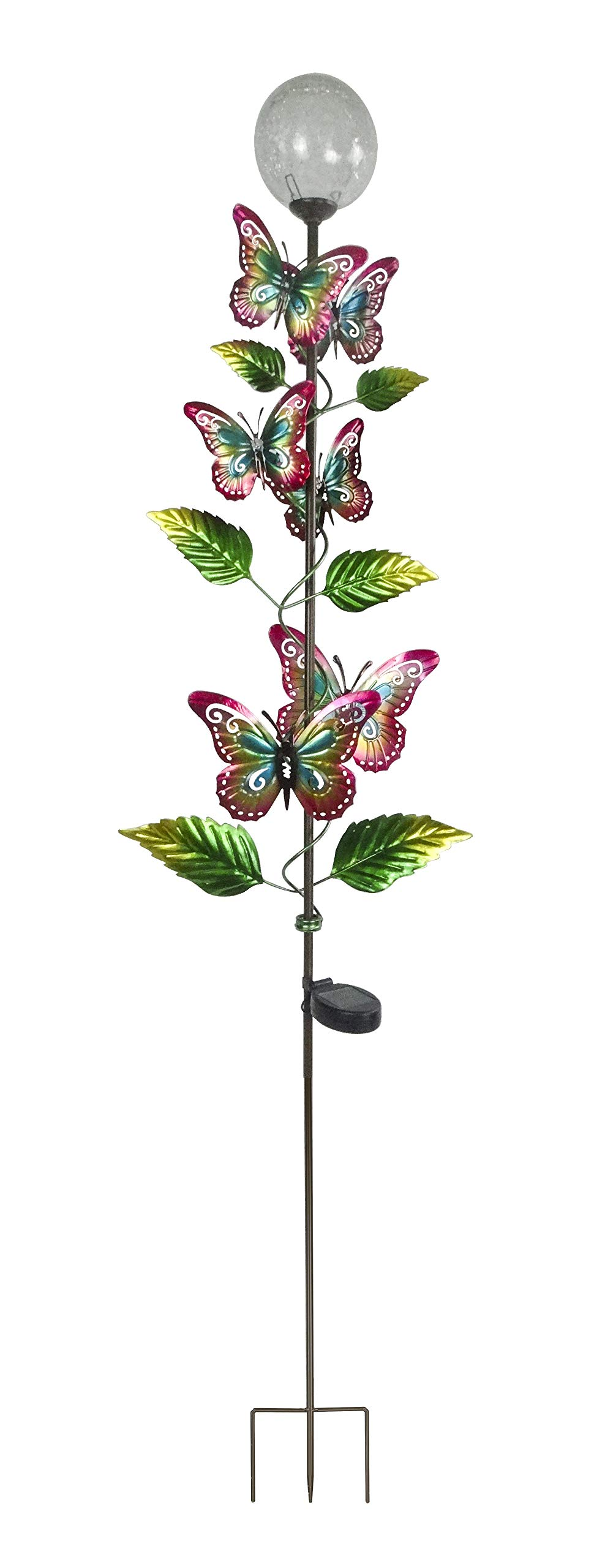 Alpine Corporation RGG288SLR Solar Metal Butterfly Garden Stake w/White LED Ligh, 64 Inch Tall, Multi-Color