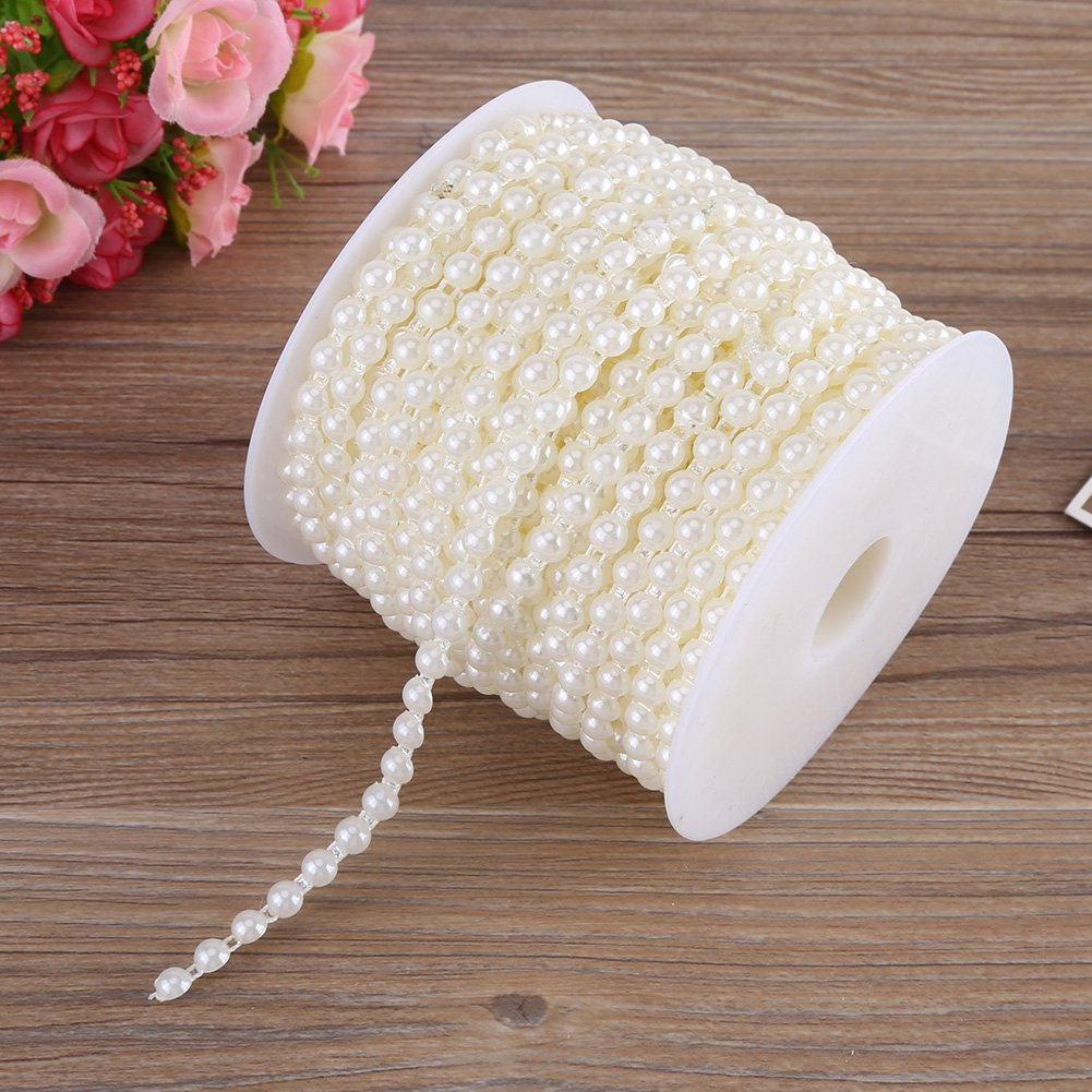 White 25M//Roll Elegant Double Cotton Line Imitation Pearls Beads Chain Garland for Wedding Christmas Party
