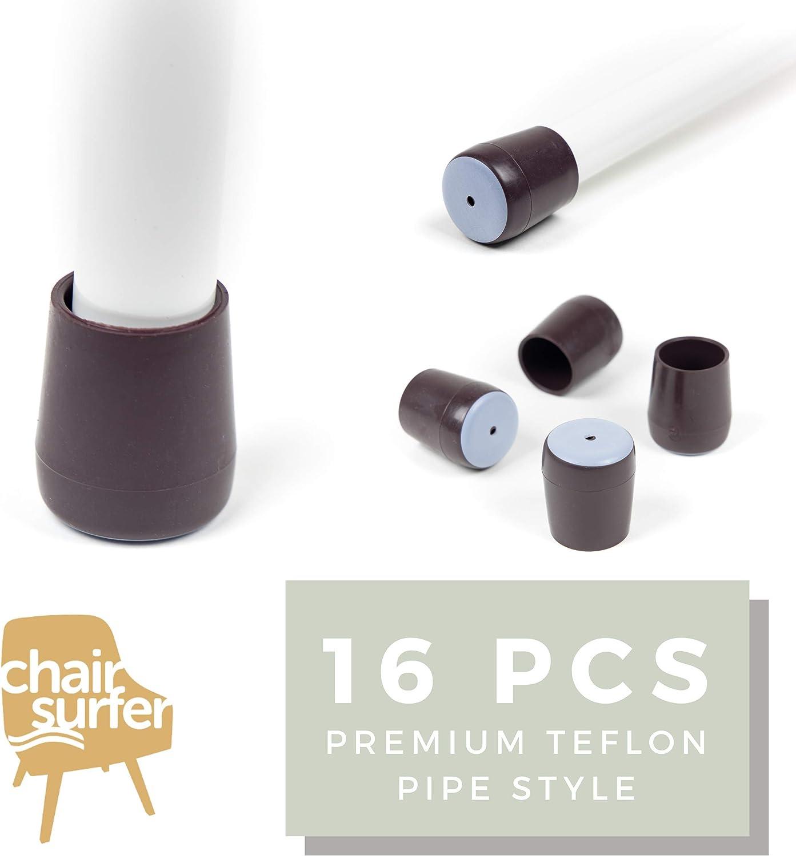 Chair Leg Caps Floor Protectors - (Pipe/16 Piece Set) Extra Glide Sliders | Premium Teflon for Easy Hardwood Floor Protection, No Noise, No Dust, Stronger Grip (24-25mm)
