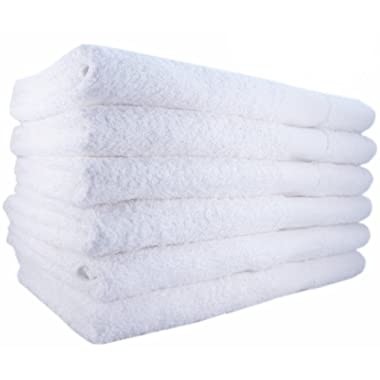 MIMAATEX Brand 100% Cotton 24x50 Inch Bath Towels, White, 6 Pack