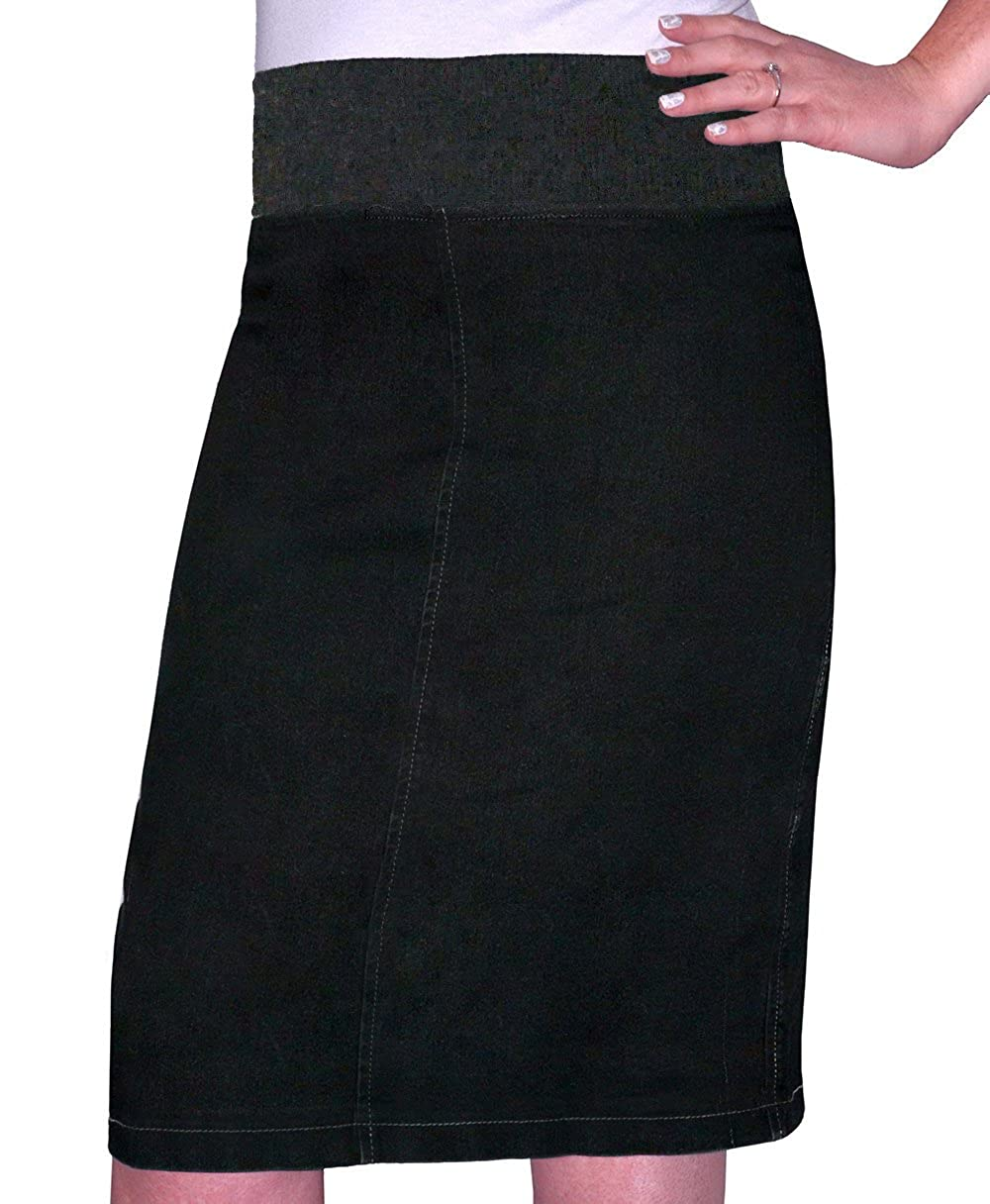 Kosher Casual Women's Modest Straight Knee Length Denim Skirt 1490N-AS-SBL-$P
