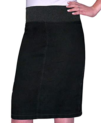 be05a268f Kosher Casual Women's Modest Straight Midi Length Denim Skirt Stretch  Waistband No Slits Regular and Plus Size at Amazon Women's Clothing store:
