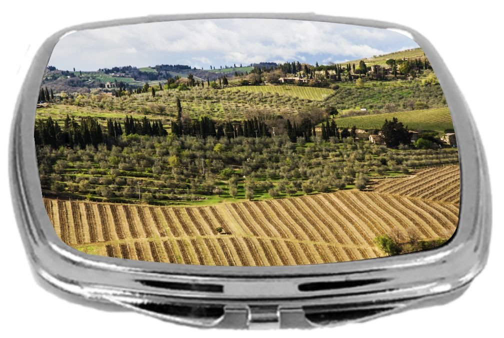Rikki Knight Compact Mirror, Chianti Countryside Scenery, 3 Ounce
